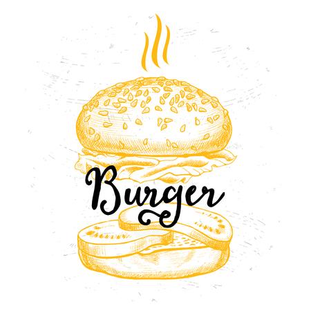 gourmet burger: Restaurant brochure vector, menu design. Vector cafe template with hand-drawn graphic. Food flyer. Illustration