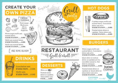 Menu tovaglietta brochure ristorante cibo, modello di menu design. Vintage modello cena creativo con grafica disegnata a mano. Vector menu di cibo volantino. bordo del menu gourmet.