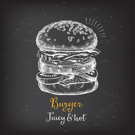 Burger menu restaurant badges. Food design icons with hand-drawing elements. Graphic labels for fast food restaurant template. Иллюстрация