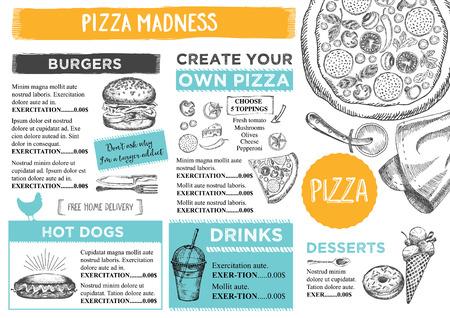 Menu placemat food restaurant brochure, menu template design. Vintage creative dinner template with hand-drawn graphic. Vector food menu flyer. Gourmet menu board.