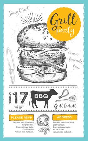 gourmet burger: Barbecue menu placemat food restaurant brochure, bbq template design. Vintage creative dinner invitation with hand-drawn graphic. Vector food menu flyer. Gourmet menu board.