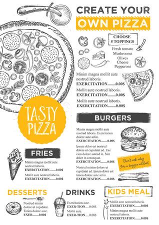 mantel menú folleto restaurante de comida, diseño de plantilla de menú. Plantilla de la vendimia con la cena creativa gráfico dibujado a mano. Vector menú de comida volante. tablero del menú gourmet.