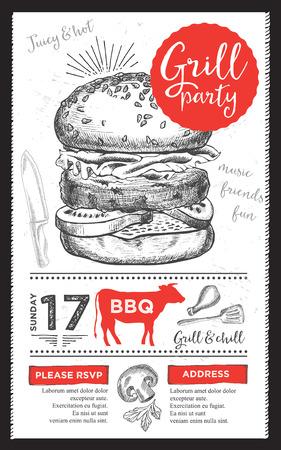 Barbecue menu placemat food restaurant brochure, bbq template design. Vintage creative dinner invitation with hand-drawn graphic. Vector food menu flyer. Gourmet menu board. Vektorové ilustrace