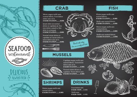 cafe food: Seafood restaurant brochure, menu design. Vector cafe template with hand-drawn graphic. Food flyer.