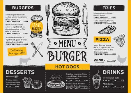 Restaurant brochure vecteur, conception de menu. Vector cafe modèle avec graphique dessiné à la main. dépliant alimentaire.