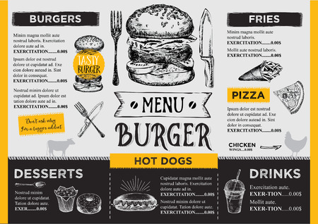 Restaurant brochure vector, menu design. Vector cafe template with hand-drawn graphic. Food flyer. Stock Illustratie
