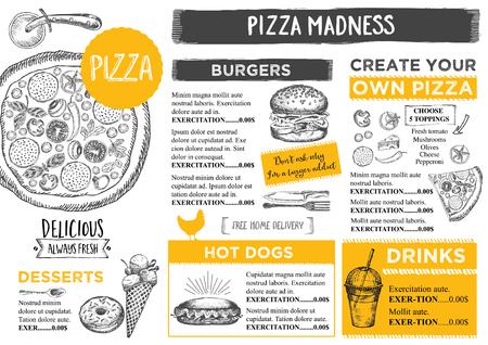 menu board: Menu placemat food restaurant brochure, menu template design. Vintage creative dinner template with hand-drawn graphic. Vector food menu flyer. Gourmet menu board.