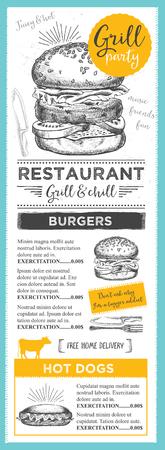 gourmet burger: Menu placemat food restaurant brochure, menu template design. Vintage creative dinner template with hand-drawn graphic. Vector food menu flyer. Gourmet menu board.