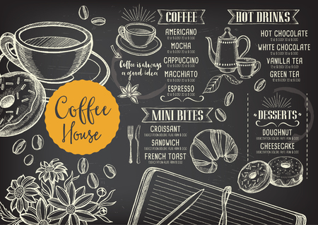 Coffee restaurant brochure vector, coffee shop menu design. Vector cafe template with hand-drawn graphic. Coffee flyer.