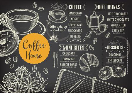 Kaffee Restaurant Broschüre Vektor, Coffee-Shop-Menü-Design. Vector Café-Vorlage mit handgezeichneten Grafik. Kaffee-Flyer.