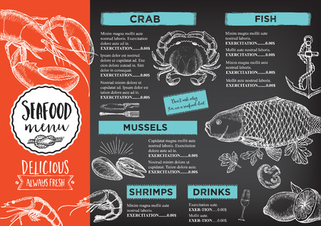 logo poisson: Seafood restaurant brochure, menu design. Vector cafe template with hand-drawn graphic. Food flyer.