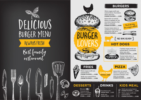 food and drinks: Restaurant brochure vector, menu design. Vector cafe template with hand-drawn graphic. Food flyer. Illustration