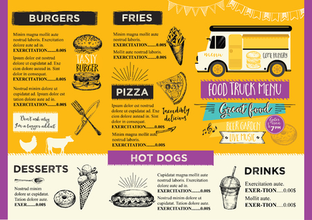 Food truck festival menu food brochure, street food template design. Vintage creative party invitation with hand-drawn graphic. Vector food menu flyer. Hipster menu board. Ilustracja