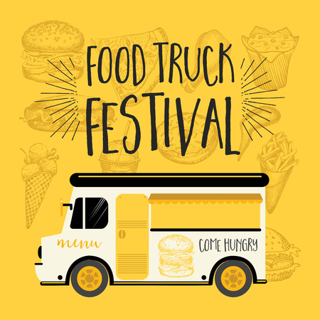 Food truck festival menu food brochure, street food template design. Vintage creative party invitation with hand-drawn graphic. Vector food menu flyer. Hipster menu board.  イラスト・ベクター素材