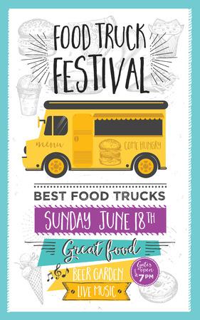 Food truck festival menu food brochure, street food template design. Vintage creative party invitation with hand-drawn graphic. Vector food menu flyer. Hipster menu board. Vector Illustration