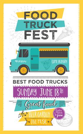 Ciężarówka Food Menu Food Festival broszura, street food szablon. Vintage oszczędny zaproszenie strona z rysowane ręcznie grafiki. Wektor jedzenie menu ulotki. Hipster menu płyty.