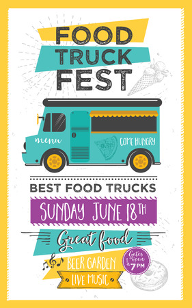 Food truck festival menu food brochure, street food template design. Vintage creative party invitation with hand-drawn graphic. Vector food menu flyer. Hipster menu board. Illustration