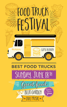 Food truck festival menu food brochure, street food template design. Vintage creative party invitation with hand-drawn graphic. Vector food menu flyer. Hipster menu board. Çizim