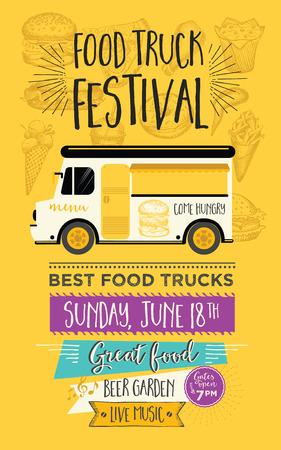 Voedsel vrachtwagen festival menu eten brochure, straat template food design. Vintage creatieve partij uitnodiging met de hand getekende afbeelding. Vector menu eten flyer. Hipster menu board.