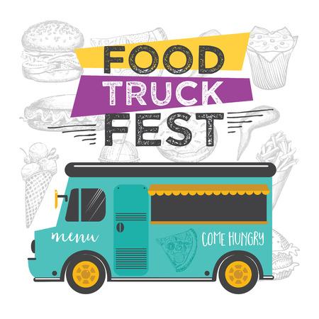 Food truck festival menu food brochure, street food template design. Vintage creative party invitation with hand-drawn graphic. Vector food menu flyer. Hipster menu board. Illustration