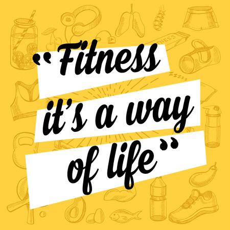 forme et sante: Fitness motivation d'affiche de citation. Gym bannière inspiré avec du texte et des icônes du sport dessin à la main.