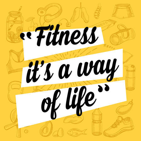Fitness motivation quote poster. Gym inspirational banner with text and hand-drawing sport icons.