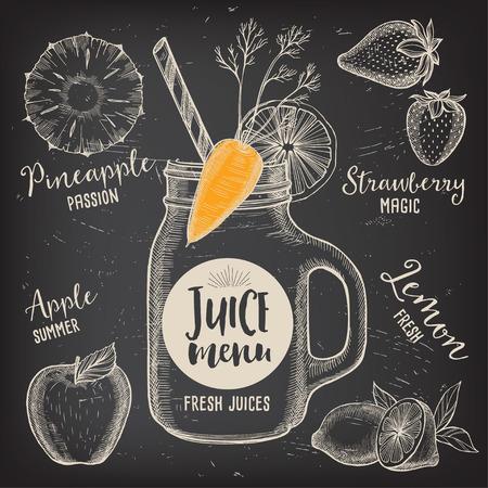 placemat: Juice menu placemat drink restaurant brochure, dessert template design. Vintage creative beverage template with hand-drawn graphic. Vector food menu flyer. Gourmet menu board.