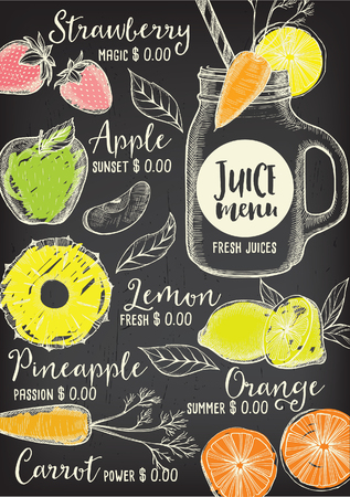 Juice menu placemat drink restaurant brochure, dessert template design. Vintage creative beverage template with hand-drawn graphic. Vector food menu flyer. Gourmet menu board.