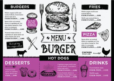 Brochure ristorante cibo tovaglietta menu, modello di menu design. Modello di cena creativa vintage con grafica disegnata a mano. Volantino del menu cibo vettoriale. Menu del menu gourmet. Vettoriali