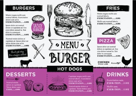 Menu podkładka food broszura, szablon menu design. Archiwalne szablonu twórczych kolację z rysowane ręcznie grafiki. Wektor jedzenie menu ulotki. Gourmet menu płyty. Ilustracje wektorowe