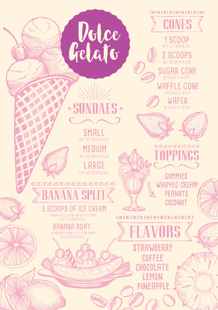 Ice Cream Menu Placemat Food Restaurant Brochure, Dessert Template ...