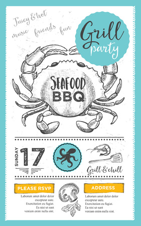 dinner menu: Barbecue menu placemat food restaurant brochure, bbq template design. Vintage creative dinner invitation with hand-drawn graphic. Vector food menu flyer. Gourmet menu board.