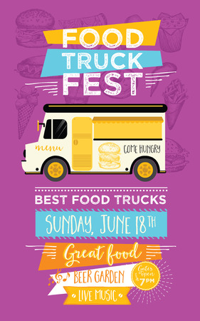 american food: Food truck festival menu food brochure, street food template design. Vintage creative party invitation with hand-drawn graphic. Vector food menu flyer. Hipster menu board. Illustration