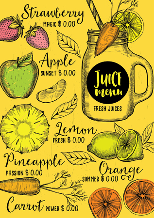 orange juice: Juice menu placemat drink restaurant brochure, dessert template design. Vintage creative beverage template with hand-drawn graphic. Vector food menu flyer. Gourmet menu board.
