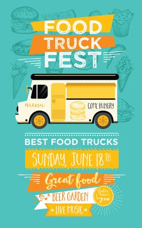 Ciężarówka Food Menu Food Festival broszura, street food szablon. Vintage oszczędny zaproszenie strona z rysowane ręcznie grafiki. Wektor jedzenie menu ulotki. Hipster menu płyty. Ilustracje wektorowe