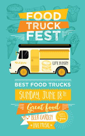 Food truck festival menu food brochure, street food template design. Vintage creative party invitation with hand-drawn graphic. Vector food menu flyer. Hipster menu board. Stock Illustratie