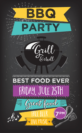 Menu Grill podkładka food broszura, szablon grill konstrukcja. Vintage twórcze kolację zaproszenia z rysowane ręcznie grafiki. Wektor jedzenie menu ulotki. Gourmet menu płyty.