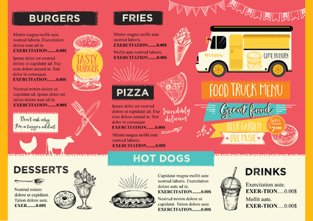 carretto gelati: camion alimentari brochure alimentari Menu Festival, via modello di alimenti di progettazione. Vintage invito a una festa creativa con grafica disegnata a mano. Vector menu di cibo volantino. bordo del menu Hipster.