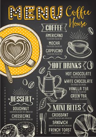 cappucino: Coffee restaurant brochure vector, coffee shop menu design. Vector cafe template with hand-drawn graphic. Coffee flyer.