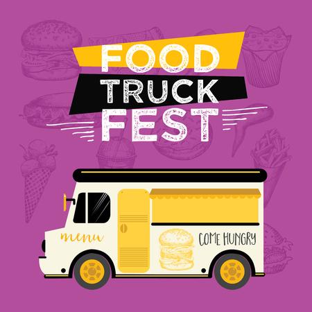 Food truck festival menu food brochure, street food template design. Vintage creative party invitation with hand-drawn graphic. Vector food menu flyer. Hipster menu board. 일러스트