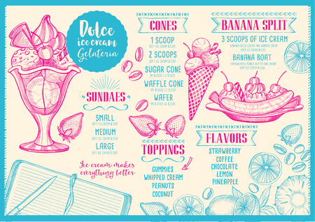 split: Ice cream menu placemat food restaurant brochure, dessert template design. Vintage creative sweet template with hand-drawn graphic. Vector food menu flyer. Gourmet menu board.