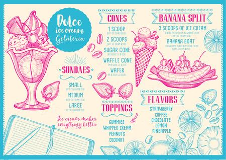 banana illustration: Ice cream menu placemat food restaurant brochure, dessert template design. Vintage creative sweet template with hand-drawn graphic. Vector food menu flyer. Gourmet menu board.