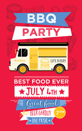 holiday party: Food truck festival menu food brochure, street food template design. Vintage creative party invitation with hand-drawn graphic. Vector food menu flyer. Hipster menu board. Illustration