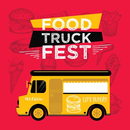 retro truck: Food truck festival menu food brochure, street food template design. Vintage creative party invitation with hand-drawn graphic. Vector food menu flyer. Hipster menu board. Illustration