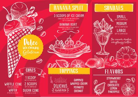placemat: Ice cream menu placemat food restaurant brochure, dessert template design. Vintage creative sweet template with hand-drawn graphic. Vector food menu flyer. Gourmet menu board.