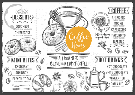 placemat: Coffee menu placemat food restaurant brochure, coffee shop template design. Vintage creative dinner template with hand-drawn graphic. Vector coffee menu flyer. Gourmet menu board.