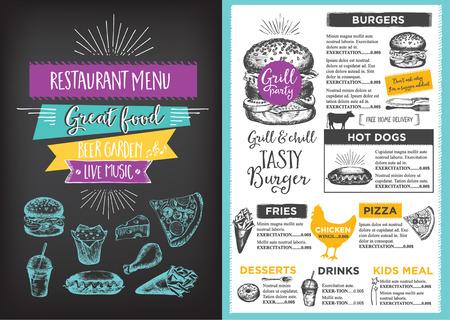 メニュー マット食品レストラン パンフレット、メニュー テンプレート デザイン。手描きのグラフィックを持つビンテージ創作ディナー テンプレー