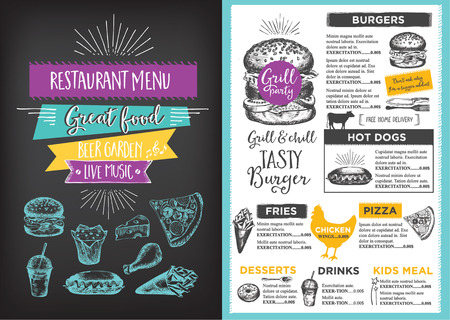 Menu placemat food restaurant brochure, menu template design. Vintage creatieve diner template met de hand getekende afbeelding. Vector menu eten flyer. Gourmet menu board. Stock Illustratie