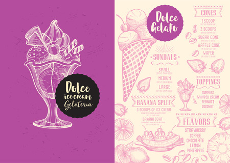 Helado menú mantel folleto restaurante de comida, diseño de plantilla de postre. Plantilla dulce creativo de la vendimia con el gráfico dibujado a mano. Vector menú de comida volante. tablero del menú gourmet.