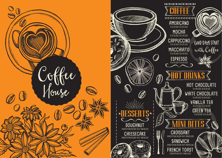 Coffee menu placemat food restaurant brochure, coffee shop template design. Vintage creative dinner template with hand-drawn graphic. Vector coffee menu flyer. Gourmet menu board.